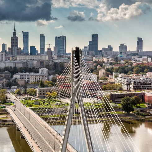 Warsaw skyline behind the bridge, Poland